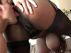 Busty ebony cutie serves white dude