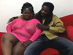 African babe gets huge tits creamed