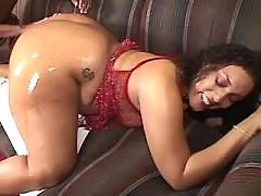 Cheeky ebony gets powerful facial