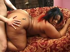 Brown sugar babe spreading for cock